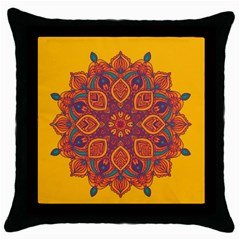 Ornate Mandala Throw Pillow Case (black) by Valentinaart