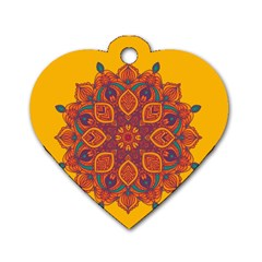 Ornate Mandala Dog Tag Heart (two Sides) by Valentinaart