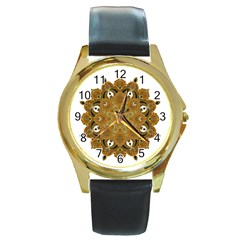 Ornate Mandala Round Gold Metal Watch by Valentinaart