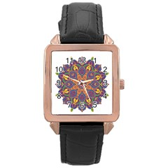 Ornate Mandala Rose Gold Leather Watch  by Valentinaart