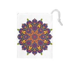 Ornate Mandala Drawstring Pouches (medium)  by Valentinaart