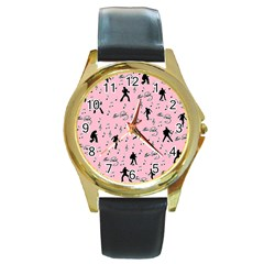 Elvis Presley  Pink Pattern Round Gold Metal Watch by Valentinaart