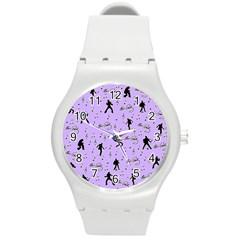 Elvis Presley  Pattern Round Plastic Sport Watch (m) by Valentinaart