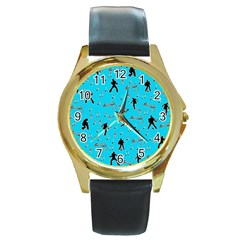 Elvis Presley  Pattern Round Gold Metal Watch by Valentinaart