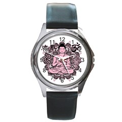 Ornate Buddha Round Metal Watch by Valentinaart