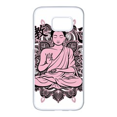 Ornate Buddha Samsung Galaxy S7 Edge White Seamless Case by Valentinaart
