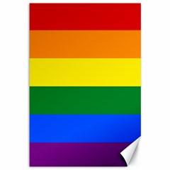 Pride Rainbow Flag Canvas 12  X 18   by Valentinaart