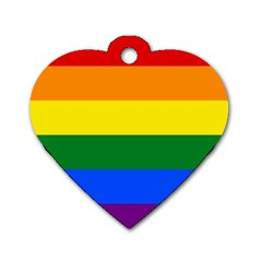 Pride Rainbow Flag Dog Tag Heart (one Side) by Valentinaart