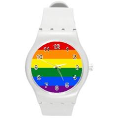 Pride Rainbow Flag Round Plastic Sport Watch (m) by Valentinaart