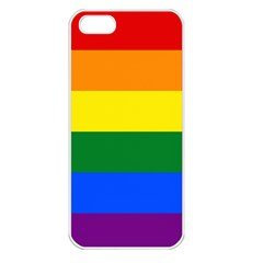 Pride Rainbow Flag Apple Iphone 5 Seamless Case (white) by Valentinaart