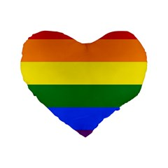 Pride Rainbow Flag Standard 16  Premium Heart Shape Cushions by Valentinaart