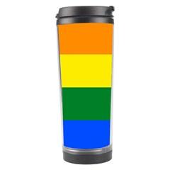 Pride Rainbow Flag Travel Tumbler by Valentinaart