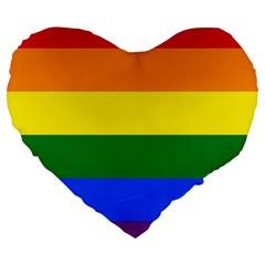 Pride Rainbow Flag Large 19  Premium Flano Heart Shape Cushions by Valentinaart