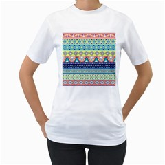 Tribal Print Women s T Shirt (white) (two Sided)