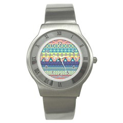 Tribal Print Stainless Steel Watch