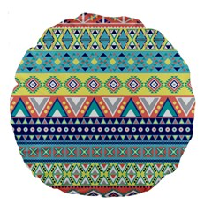 Tribal Print Large 18  Premium Round Cushions by BangZart