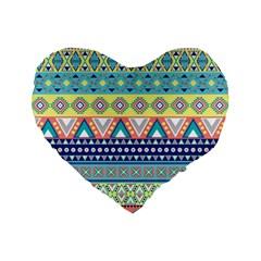 Tribal Print Standard 16  Premium Flano Heart Shape Cushions by BangZart
