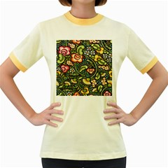 Bohemia Floral Pattern Women s Fitted Ringer T Shirts