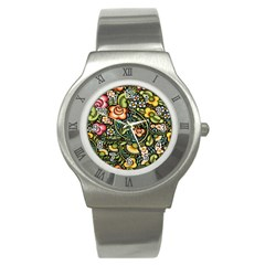 Bohemia Floral Pattern Stainless Steel Watch