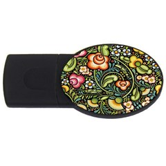 Bohemia Floral Pattern Usb Flash Drive Oval (4 Gb)