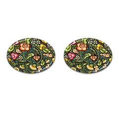 Bohemia Floral Pattern Cufflinks (oval) by BangZart