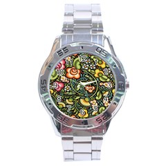 Bohemia Floral Pattern Stainless Steel Analogue Watch