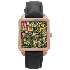 Bohemia Floral Pattern Rose Gold Leather Watch  by BangZart