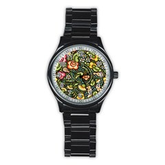 Bohemia Floral Pattern Stainless Steel Round Watch by BangZart