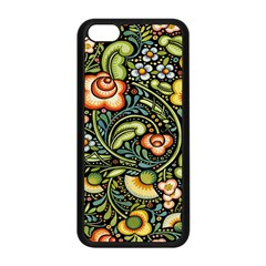 Bohemia Floral Pattern Apple Iphone 5c Seamless Case (black) by BangZart