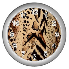 Animal Fabric Patterns Wall Clocks (silver)  by BangZart