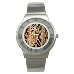 Animal Fabric Patterns Stainless Steel Watch by BangZart