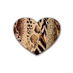 Animal Fabric Patterns Rubber Coaster (heart)  by BangZart