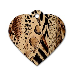 Animal Fabric Patterns Dog Tag Heart (two Sides)