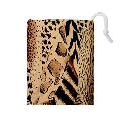 Animal Fabric Patterns Drawstring Pouches (large)  by BangZart
