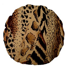 Animal Fabric Patterns Large 18  Premium Flano Round Cushions by BangZart