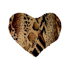 Animal Fabric Patterns Standard 16  Premium Flano Heart Shape Cushions by BangZart