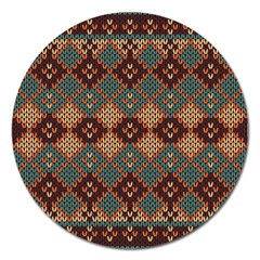 Knitted Pattern Magnet 5  (round)