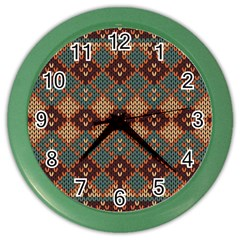 Knitted Pattern Color Wall Clocks by BangZart