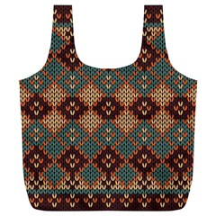 Knitted Pattern Full Print Recycle Bags (l)