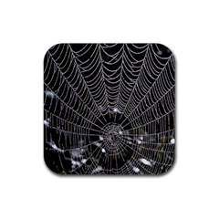 Spider Web Wallpaper 14 Rubber Coaster (square)  by BangZart