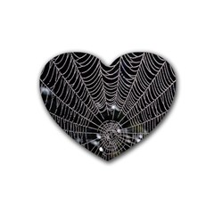 Spider Web Wallpaper 14 Rubber Coaster (heart)  by BangZart