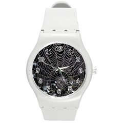 Spider Web Wallpaper 14 Round Plastic Sport Watch (m) by BangZart