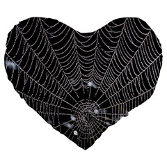 Spider Web Wallpaper 14 Large 19  Premium Heart Shape Cushions by BangZart