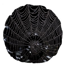 Spider Web Wallpaper 14 Large 18  Premium Flano Round Cushions