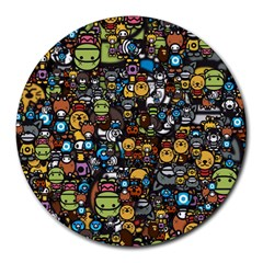 Many Funny Animals Round Mousepads