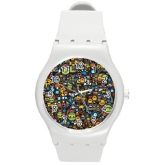 Many Funny Animals Round Plastic Sport Watch (m) by BangZart