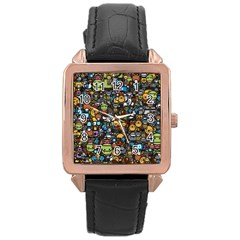 Many Funny Animals Rose Gold Leather Watch