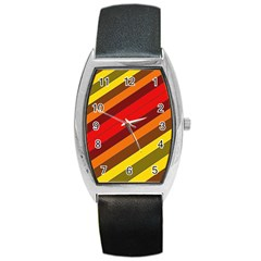 Abstract Bright Stripes Barrel Style Metal Watch by BangZart