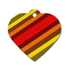 Abstract Bright Stripes Dog Tag Heart (two Sides)