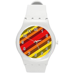 Abstract Bright Stripes Round Plastic Sport Watch (m) by BangZart